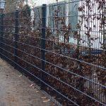 Gitterstabzaun in anthrazit mit O-Pfosten und eingelassener Rasenkante
