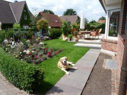 Gartenneugestaltung mit Pflanzung und Rollrasen