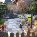 Granittrittplatten mit Granitkleinpflaster